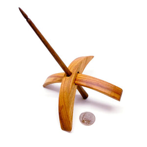 Riley Wood And Fiber Art Turkish Drop Spindle-Spindles-Medium (Canary with Walnut Shaft)-