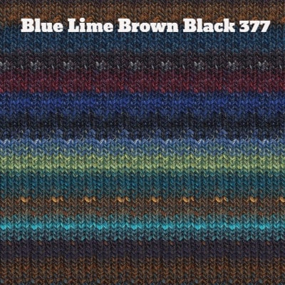 Noro Silk Garden Yarn Blue Lime Brown Black 377 - 21