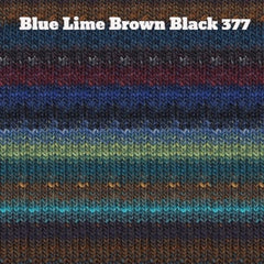 Paradise Fibers Yarn Noro Silk Garden Yarn Blue Lime Brown Black 377 - 21