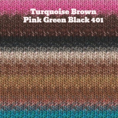 Noro Silk Garden Yarn Turquoise Brown Pink Green Black 401 - 30