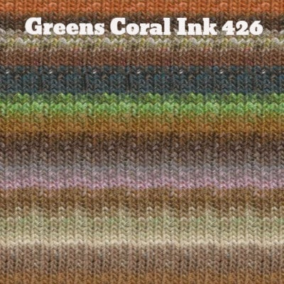 Noro Silk Garden Yarn Greens Coral Ink 426 - 42
