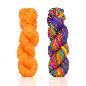 Butterfly papillon shawl 1 skein harvest fingering color Orange 2 skeins uneek fingering 3004