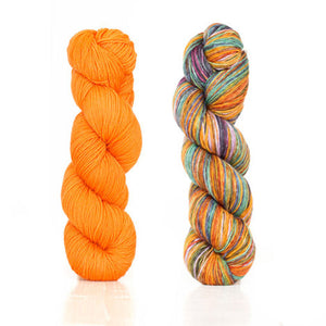 Butterfly papillon shawl 1 skein harvest fingering color Orange 2 skeins uneek fingering color 3020
