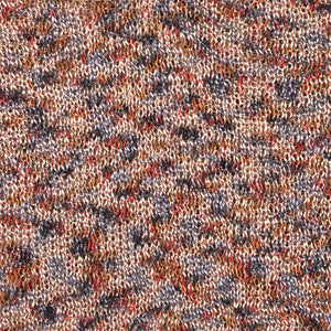 A swatch of Honeysuckle 8274, a black, rust, & red variegated colorway of Berroco's Liana yarn.