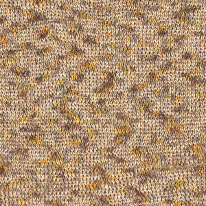 A swatch of Marigold 8271, a yellow, brown, & tan variegated colorway of Berroco's Liana yarn.