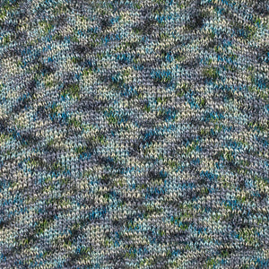 A swatch of Sage 8277, a blue & olive variegated colorway of Berroco's Liana DK weight cotton yarn.