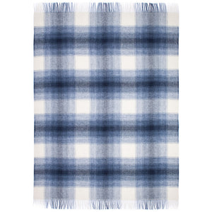 Augu, a blue and white plaid Lopi Icelandic wool blanket.