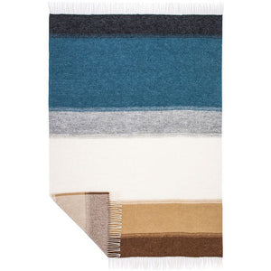 Lón, a grey, blue, white, and brown gradient striped Lopi Icelandic wool blanket.