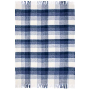 Morgunkul, a blue and white plaid Lopi Icelandic wool blanket.