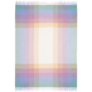Vetrarljós, a pastel blue, pink, yellow, green, and white plaid Lopi Icelandic wool blanket.
