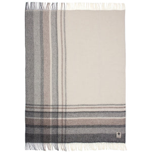 Vinkill, an off-white, brown, and grey plaid Lopi Icelandic wool blanket.