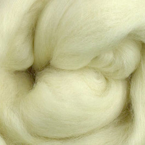 A close up look at undyed Corriedale Cross Roving.