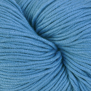 Aquidneck Island 1653, a light cornflower blue skein of Berroco's worsted weight Modern Cotton.