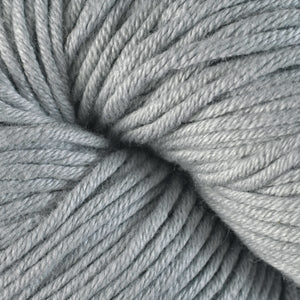 Gadwall 1608, a light grey skein of Berroco's worsted weight Modern Cotton.