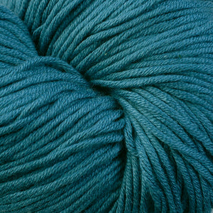 Lincoln Woods 1642, a dark blue spruce colored skein of Berroco's worsted weight Modern Cotton.