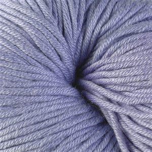 Little Compton 1631, a pastel purple skein of Berroco's worsted weight Modern Cotton.