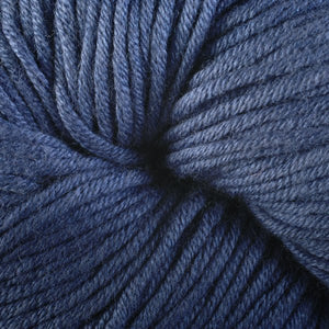 Napatree 1656, a dark demin blue skein of Berroco's worsted weight Modern Cotton.