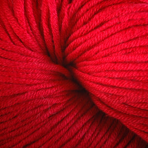 Rhode Island Red 1650, a bright red skein of Berroco's worsted weight Modern Cotton.