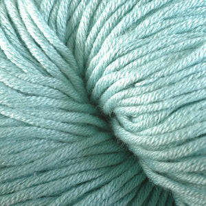 Salty Brine 1624, a pastel ocean blue skein of Berroco's worsted weight Modern Cotton.