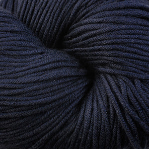 Scarborough 1670, a dark navy blue skein of Berroco's worsted weight Modern Cotton.