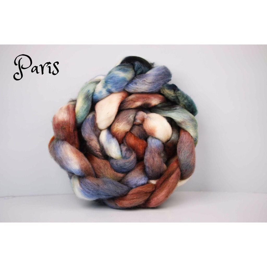 Paradise Fibers Special Yarn Fairy Hand Painted Rovings (4 oz braids) Paris (Yak/Merino/Silk) - 6