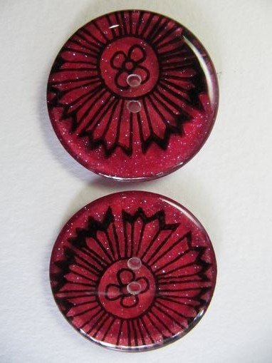 "Handmade Resin Buttons - 1 1/2"" diameter Red Flower - 2"