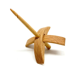 Riley Wood And Fiber Art Turkish Drop Spindle-Spindles-Small (Riftsawn White Oak with Maple Shaft)-