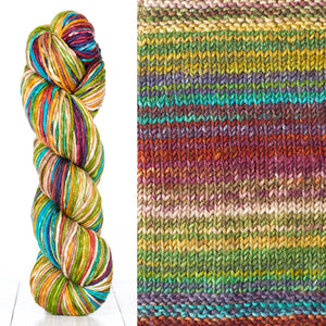 Color 4002: a hand-dyed skein of self striping wool yarn with yellow, red, white, and blue shades