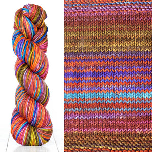 Color 4007: a hand-dyed skein of self striping wool yarn with brown, pink, blue, and yellow shades