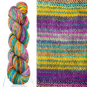 Color 4010: a hand-dyed skein of self striping wool yarn with purple, yellow, white, and green shade