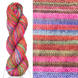 Color 4011: a hand-dyed skein of self striping wool yarn with pink, purple, red, and brown shades