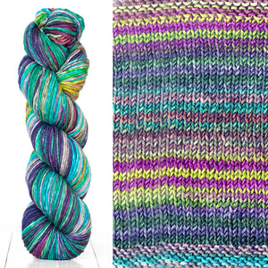 Color 4012: a hand-dyed skein of self striping wool yarn with blue, purple, green, and yellow shades