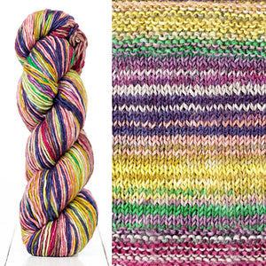Color 4018: a hand-dyed skein of self striping wool yarn with purple, yellow, green, and red shades