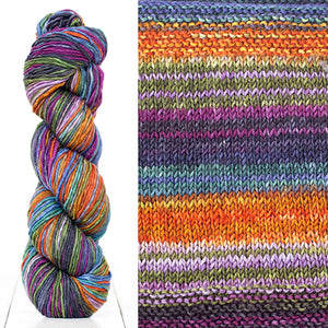 Color 4020: a hand-dyed skein of self striping wool yarn with purple, orange, blue, & olive green.