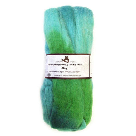 Artfelt Multi Colored Merino Standard Rovings Aqua Greens 1878 - 10