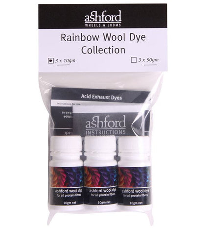 Paradise Fibers Dye Ashford Acid Dye Rainbow Collection 3x 10g - 2