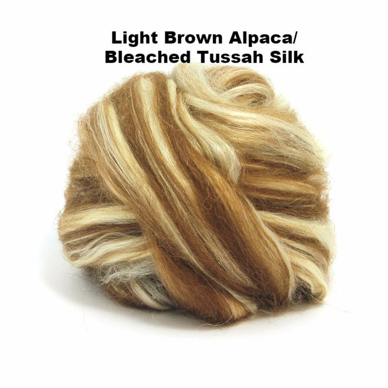 Paradise Fibers Alpaca/Tussah Silk Tops 4oz bundles Light Brown Alpaca/Bleached Tussah Silk / 4oz - 4