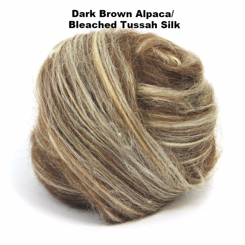 Paradise Fibers Alpaca/Tussah Silk Tops 4oz bundles Dark Brown Alpaca/Bleached Tussah Silk / 4oz - 3
