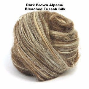 Paradise Fibers Special Dark Brown Alpaca/Silk Top (1lb bag)-Fiber-Dark Brown Alpaca/Bleached Tussah Silk-1lb-