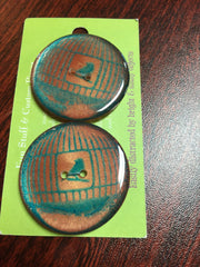 "Handmade Resin Buttons - 1 1/2"" diameter Orange Birdcage - 1"