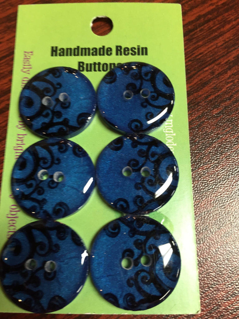 "Handmade Resin Buttons - 5/8"" Set of 6 - Blues Black Scrolls on Blue - 2"