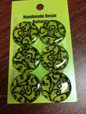 Handmade Resin Buttons - Set of 6 - Yellow/Orange/Red-Button-Black Lace-