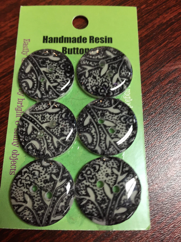 Handmade Resin Buttons - Set of 6 - Black, White White Vines - 2