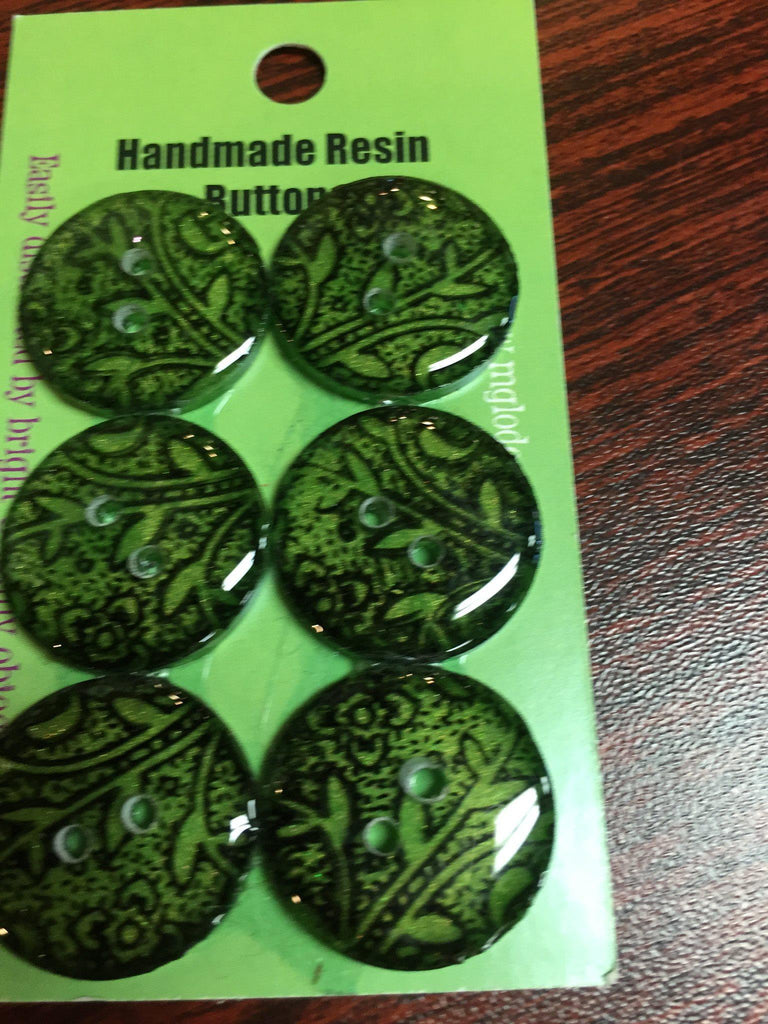 Handmade Resin Buttons - Set of 6 - Black, White Black Vines on Green - 4