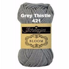 Paradise Fibers Yarn Scheepjes Bloom Yarn Grey Thistle 421 - 19