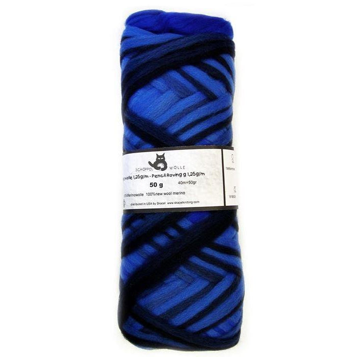 Artfelt Multi Colored Merino Pencil Rovings Blue Black 1968 - 16