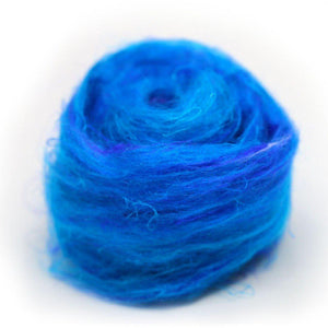 Recycled Sari Silk Pulled Rovings-Fiber-Mint Fabrics-Blue-4oz-Paradise Fibers