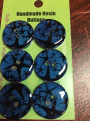 "Handmade Resin Buttons - 5/8"" Set of 6 - Blues Stars - 7"