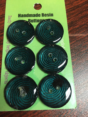 "Handmade Resin Buttons - 5/8"" Set of 6 - Blues-Button-Bull's Eye-"
