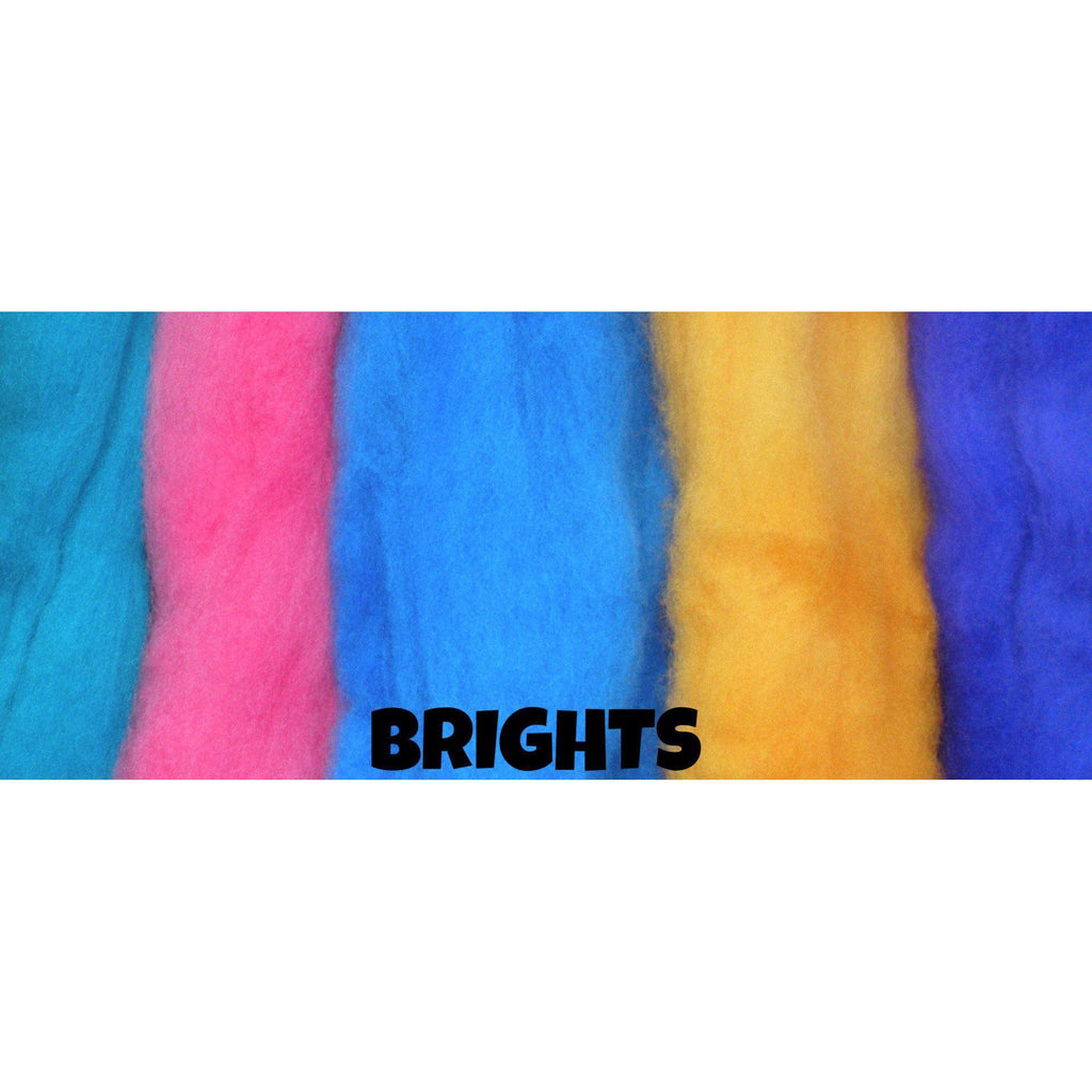 Ferndale Fiber Needle Felting Wool Multi Color Packs Brights - 5